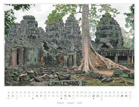 Kambodscha 2015, August: Angkor, Mönch im Tempel Preah Khan | Foto Mario Weigt | Kalenderverlag Stürtz