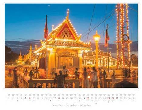 Kalender Kambodscha 2015, Dezember: Abendstimmung am Sisowath Quay in Phnom Penh | Foto Mario Weigt | Kalenderverlag Stürtz