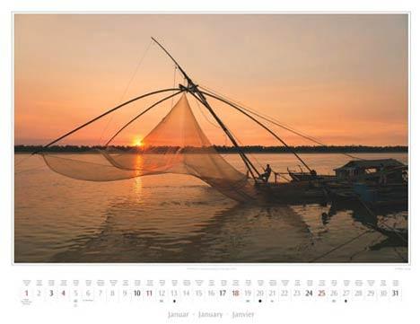 Kalender Kambodscha 2015 | Monatsblatt Januar | Fischer in Kratie | Foto Mario Weigt