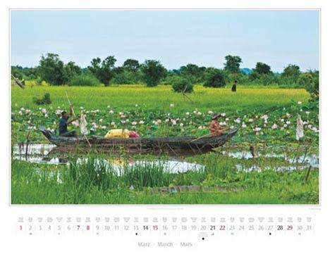 Kambodscha 2015, März: Lotusteich in Kampong Chhnang | Foto Mario Weigt | Kalenderverlag Stürtz