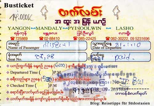 Myanmar (Burma, Birma): Busticket von Yangon über Mandalay und Pyin U Lwin nach Lashio