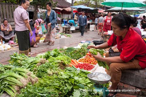 Reisetipps für Laos: Alles zum Thema Hygiene und Gesundheit | Markt am Morgen in Luang Prabang | Foto: Mario Weigt