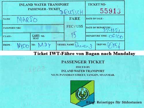 Myanmar (Burma, Birma): Ticket für die IWT-Fähre von Bagan nach Mandalay