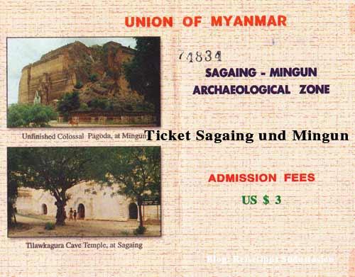 Myanmar (Burma, Birma): Ticket für Sagaing und Mingun
