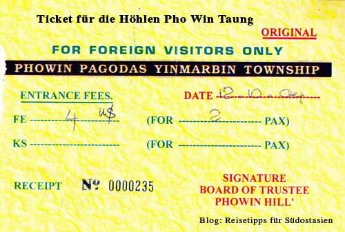 Myanmar (Burma, Birma): Ticket für die Höhlen Pho Win Taung nahe Monywa