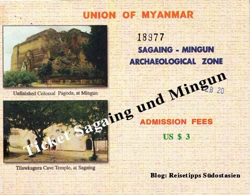 Myanmar (Burma, Birma): Ticket für Mandalay und Umgebung (Sagaing und Mingun)