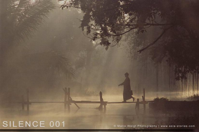 Fotoabzüge und Fine Art Prints aus der Fotoserie SILENCE | Myanmar (Burma) | Mönch beim Meditieren | Foto: Mario Weigt