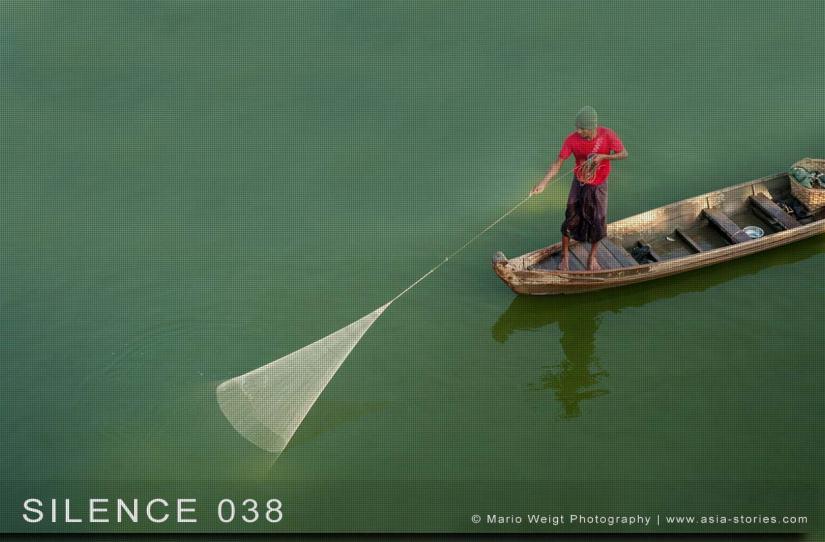 Fotoabzüge und Fine Art Prints aus der Fotoserie SILENCE | Myanmar (Burma) | Mandalay | Fischer in Amarapura | Foto: Mario Weigt
