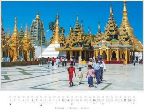 Monatsblatt Februar vom Kalender 2016 MYANMAR | BURMA | Wahrzeichen von Yangon: die Shwedagon-Pagode | Foto von Mario Weigt | Verlagshaus Würzburg / Stürtz | Größe 60 x 48 cm | Preis: 27,95 Euro