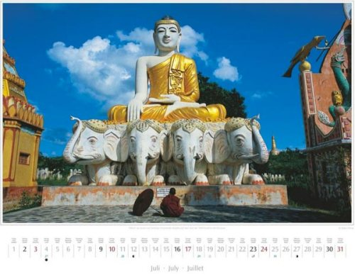 Monatsblatt Juli vom Kalender 2016 MYANMAR | BURMA | Buddha auf dem Feld der 1000 Buddhas bei Monywa | Foto von Mario Weigt | Verlagshaus Würzburg / Stürtz | Größe 60 x 48 cm | Preis: 27,95 Euro