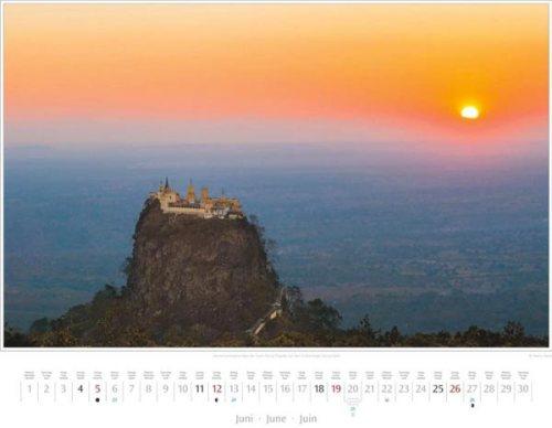 Monatsblatt Juni vom Kalender 2016 MYANMAR | BURMA | Tuyin-Taung-Pagode auf dem Vulkankegel Taung Kalat | Foto von Mario Weigt | Verlagshaus Würzburg / Stürtz | Größe 60 x 48 cm | Preis: 27,95 Euro