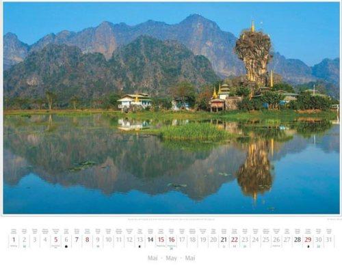 Monatsblatt Mai vom Kalender 2016 MYANMAR | BURMA | Kyauk-Ka-Lat-Pagode in der Karstlandschaft bei Hpa-an | Foto von Mario Weigt | Verlagshaus Würzburg / Stürtz | Größe 60 x 48 cm | Preis: 27,95 Euro