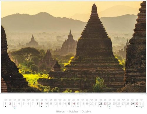 Monatsblatt Oktober vom Kalender 2016 MYANMAR | BURMA | Morgendunst über den Tempeln in der Ebene von Bagan | Foto von Mario Weigt | Verlagshaus Würzburg / Stürtz | Größe 60 x 48 cm | Preis: 27,95 Euro