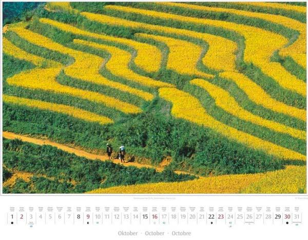 Monat Oktober im Vietnam Kalender 2016 | Reisterrassen bei Sa Pa, Nationalpark Hoang Lien | Fotos Mario Weigt | Verlagshaus Würzburg/Stürtz