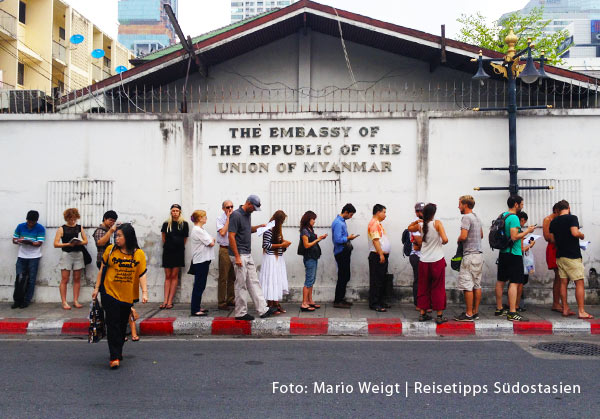 Botschaft von Myanmar in Bangkok | Überland von Thailand nach Myanmar (Burma, Birma) | Grenze Thailand - Myanmar (Burma) | Mae Sot - Myawaddy - Hpa-an