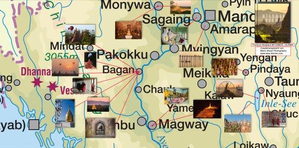 Eine Karte für das Reiseland Myanmar (Burma) mit den wichtigsten Orten und Sehenswürdigkeiten im zentalen Teil des Landes. Die Landkarte zeigt u.a. die Städte Mandalay, Bagan, Nyaungshwe, Pindaya, Magwe, Sagaing und Amarapura. Die Karte stammt aus dem Premium Bildband MYANMAR | BURMA mit Fotos von Mario Weigt und von Text Walter M. Weiss | Verlagshaus Würzburg/Stürtz.