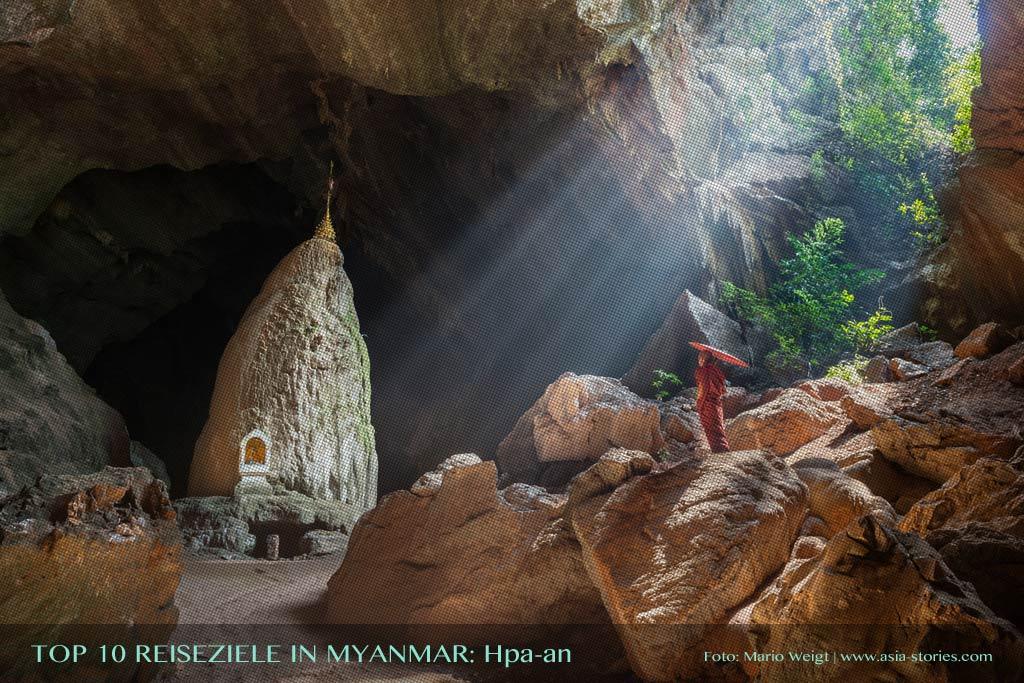Reisetipp Hpa-an von der TOP 10 Liste für Reiseziele und Orte in Myanmar (Burma), die jeder Reisende auf jeden Fall besuchen sollte.
