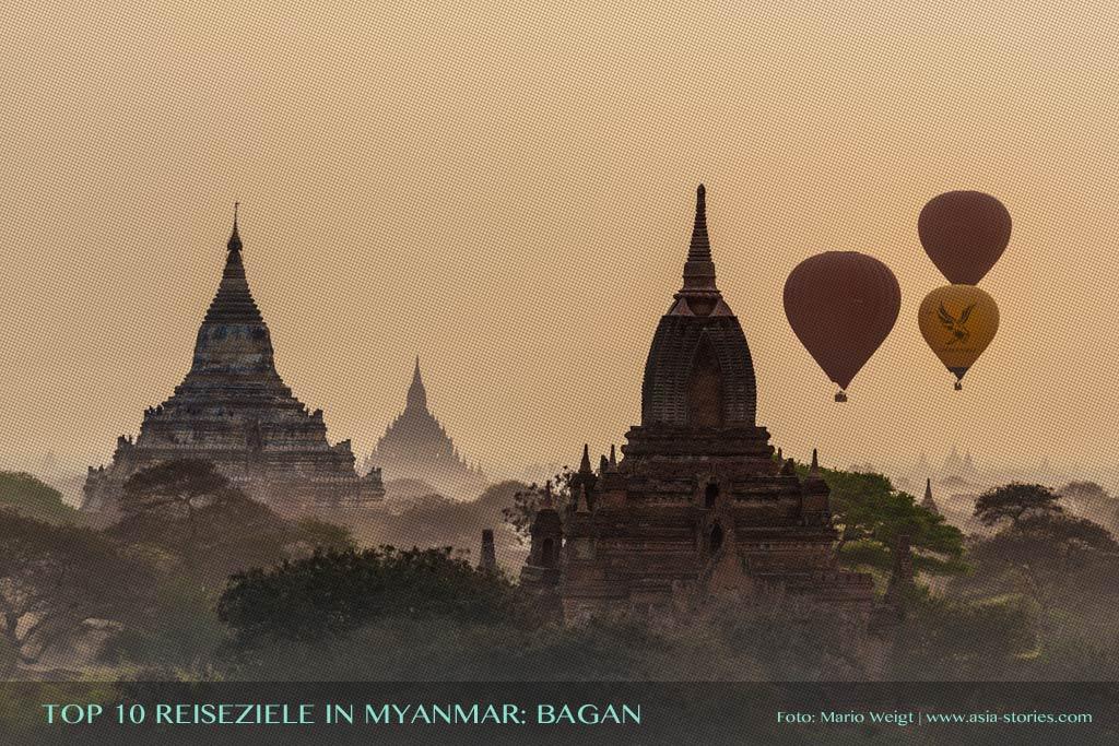 Reisetipp Bagan von der TOP 10 Liste für Reiseziele und Orte in Myanmar (Burma), die jeder Reisende auf jeden Fall besuchen sollte.