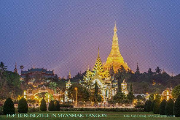 Reisetipp Shwedagon-Pagode in Yangon von der TOP 10 Liste für Reiseziele und Orte in Myanmar (Burma), die jeder Reisende auf jeden Fall besuchen sollte.