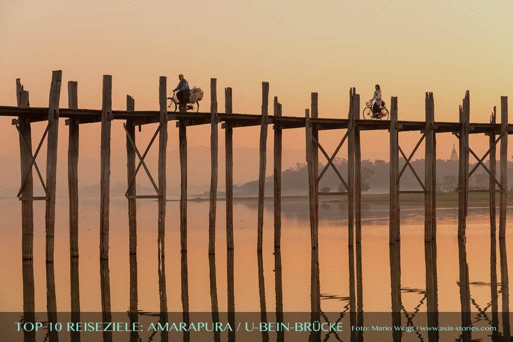 Reisetipp U-Bein-Brücke in Amarapura von der TOP 10 Liste für Reiseziele und Orte in Myanmar (Burma), die jeder Reisende auf jeden Fall besuchen sollte.