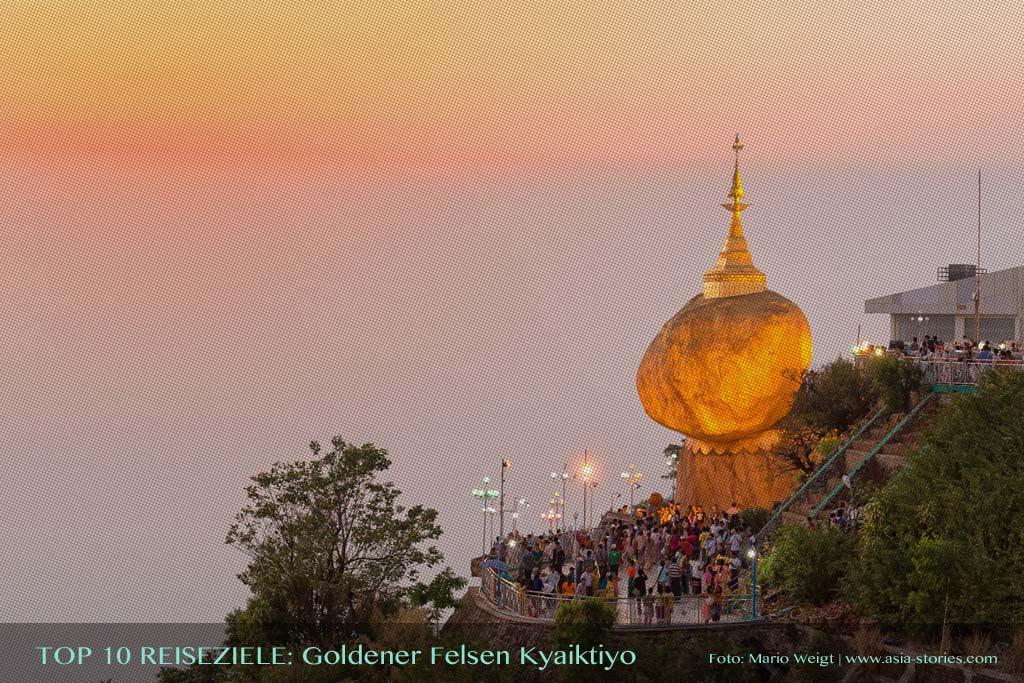 Reisetipp Goldener Felsen Kyaiktiyo von der TOP 10 Liste für Reiseziele und Orte in Myanmar (Burma), die jeder Reisende auf jeden Fall besuchen sollte.