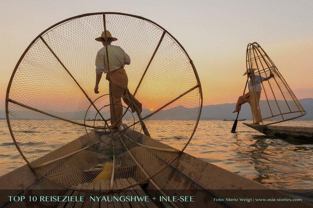 Reisetipp Nyaungshwe und der Inle-See von der TOP 10 Liste für Reiseziele und Orte in Myanmar (Burma), die jeder Reisende auf jeden Fall besuchen sollte.