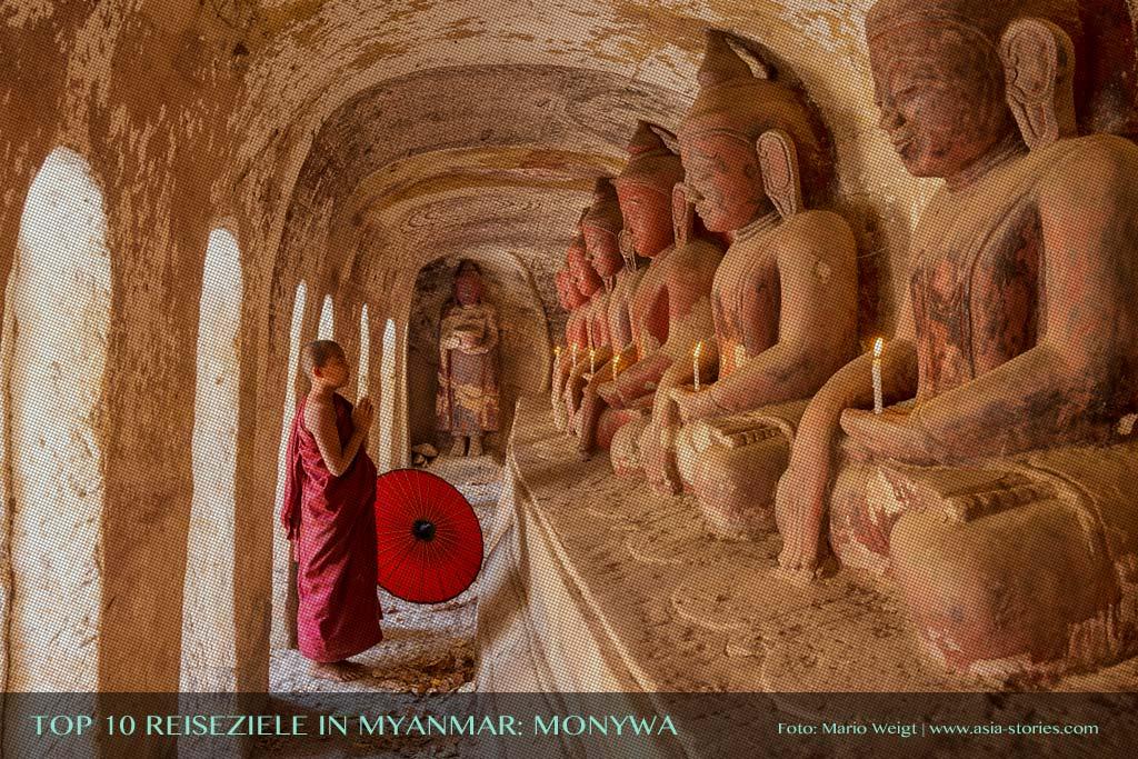 Reisetipp Hpo-Win-Daung-Höhlen nahe Monywa von der TOP 10 Liste für Reiseziele und Orte in Myanmar (Burma), die jeder Reisende auf jeden Fall besuchen sollte.