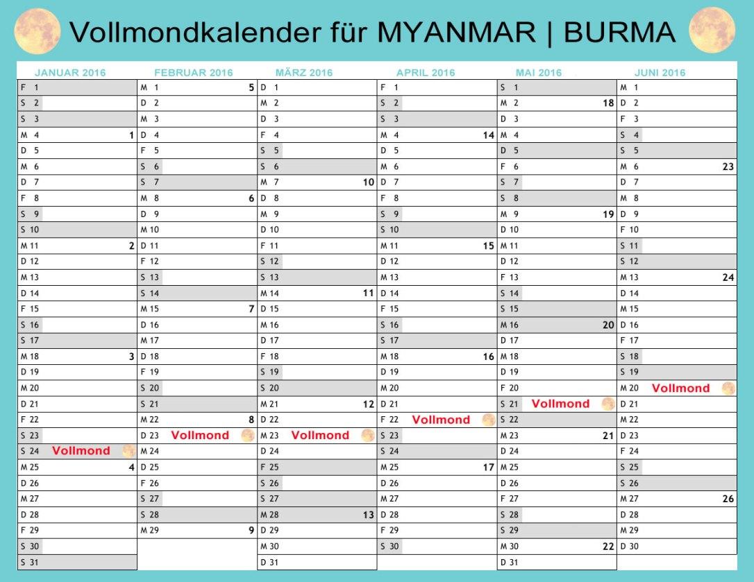 Vollmondkalender für das 1. Halbjahr 2016 in Myanmar (Burma)