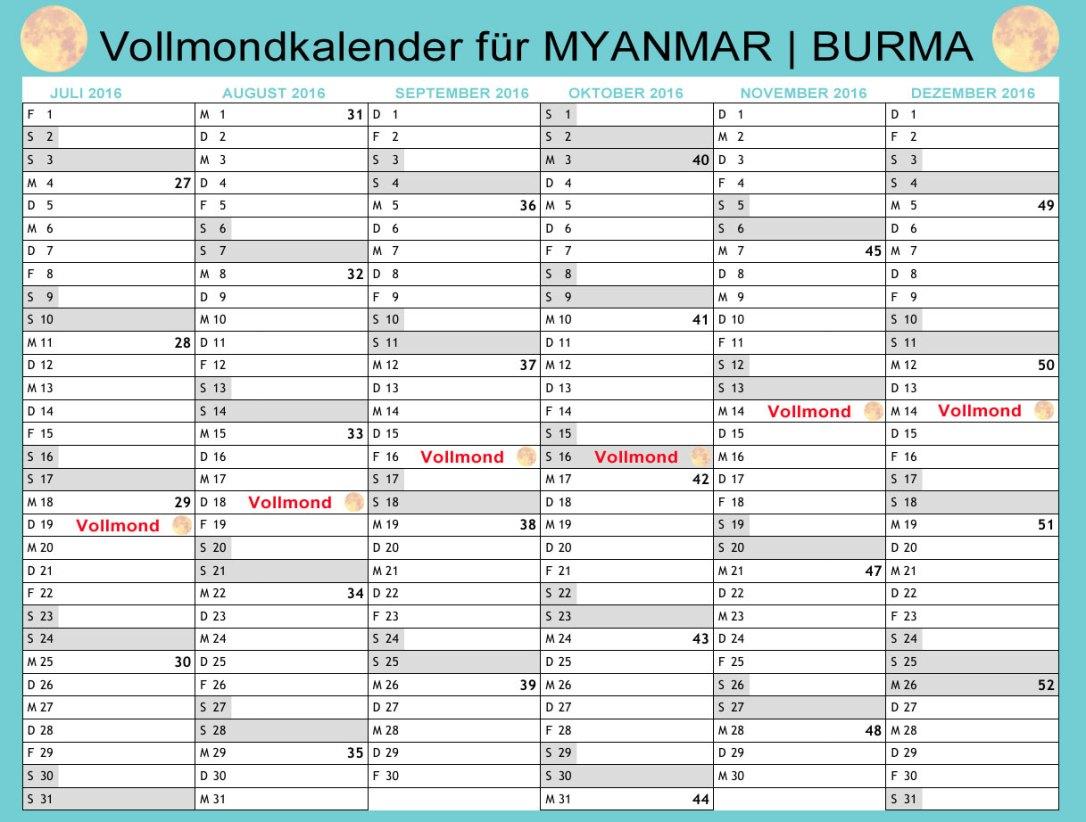 Vollmondkalender für das 2. Halbjahr 2016 in Myanmar (Burma)
