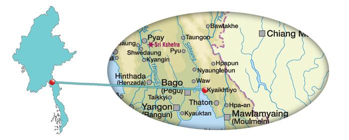 Myanmar - Karte vom Goldenen Felsen Kyaikhtiyo