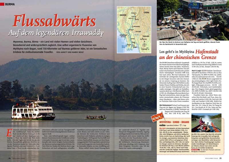 Veröffentlichung im Magazin | Artikel: Flussabwärts - Auf dem legendären Irrawaddy | Text und Fotos: Annett und Mario Weigt