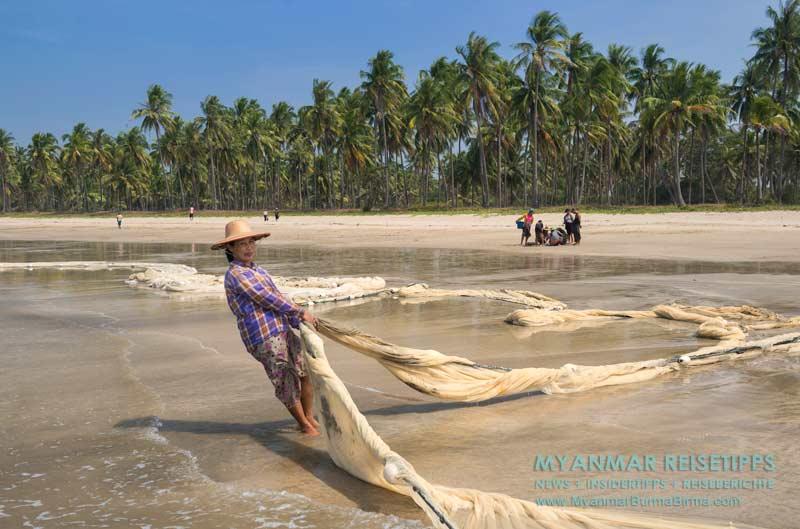 Myanmar Reisetipps   Fischer am Ngwe Saung Beach