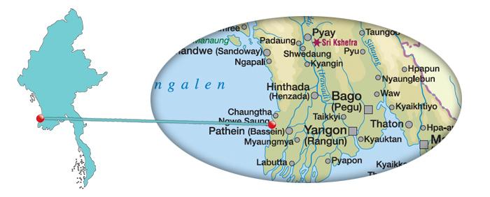 Myanmar - Karte vom Ngwe Saung Beach
