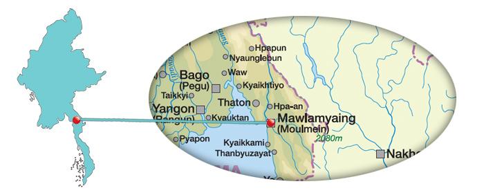 Myanmar - Karte von Mawlamyaing - Mawlamyine