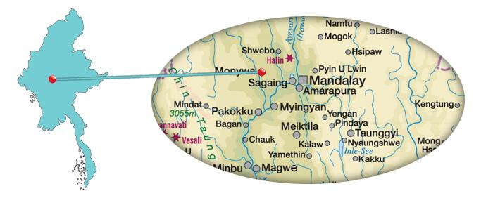 Myanmar - Karte von Monywa