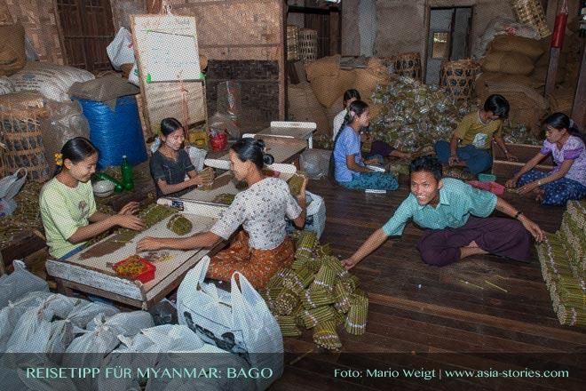 Reisetipps Myanmar (Burma): Besuch einer Sherootmanufaktur in Bago