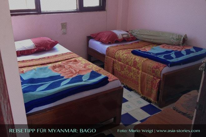 Reisetipps Myanmar (Burma): Spartanisch eingerichtetes Zimmer im Hotel Emperor in Bago