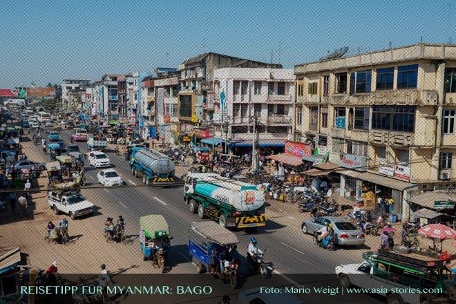 Reisetipps Myanmar (Burma): Verkehr in Bago | Foto: Mario Weigt | Premium Bildband MYANMAR | BURMA | Verlagshaus Würzburg/Stürtz