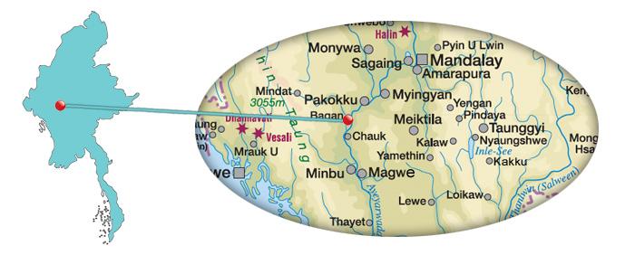 Myanmar - Karte von Bagan