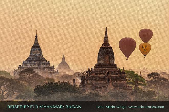 Reisetipps Myanmar (Burma): Mit dem Ballon über das Pagodenfeld von Bagan | Foto: Mario Weigt | Premium Bildband MYANMAR | BURMA | Verlagshaus Würzburg/Stürtz