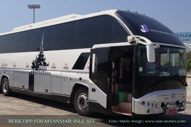 Reisetipps Myanmar (Burma): Bus von JJ Express von Mandalay nach Taunggyi | Foto: Mario Weigt