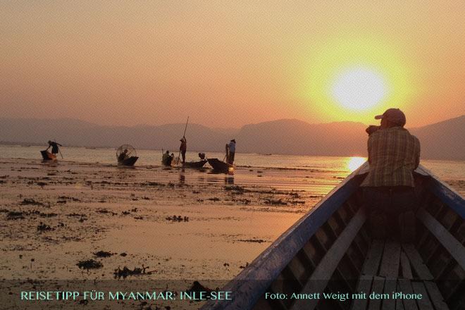 Reisetipps Myanmar (Burma): Fotoshooting mit einigen Fischer auf dem Inle-See | Foto: Mario Weigt
