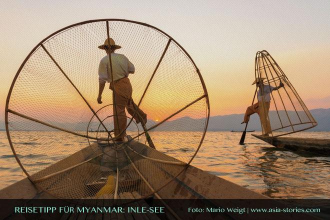 Reisetipps Myanmar (Burma): Einbeinruderer auf dem Inle-See | Foto: Mario Weigt | Premium Bildband MYANMAR | BURMA | Verlagshaus Würzburg/Stürtz
