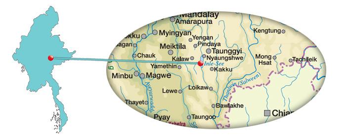 Karte vom Inle-See in Myanmar
