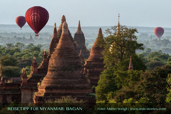 Reisetipps Myanmar (Burma): Mit dem Ballon über die Tempelebene von Bagan | Foto: Mario Weigt | Premium Bildband MYANMAR | BURMA | Verlagshaus Würzburg/Stürtz