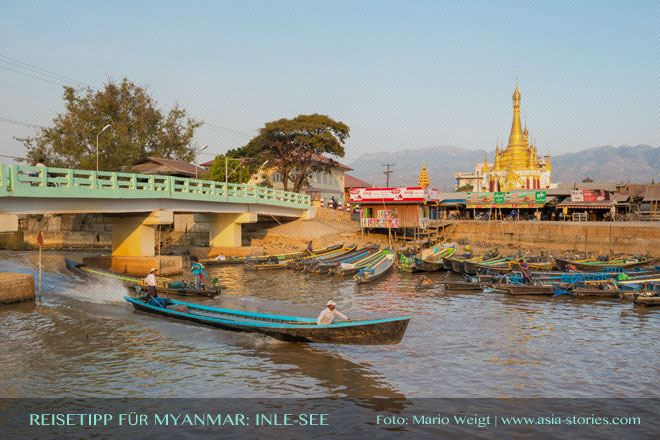 Reisetipps Myanmar (Burma): Pagode in Nyaungshwe am Inle-See | Foto: Mario Weigt