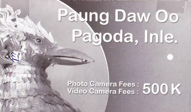 Ticket für die Fotogebühr in der Pagoge Paung Daw U auf dem Inle-See