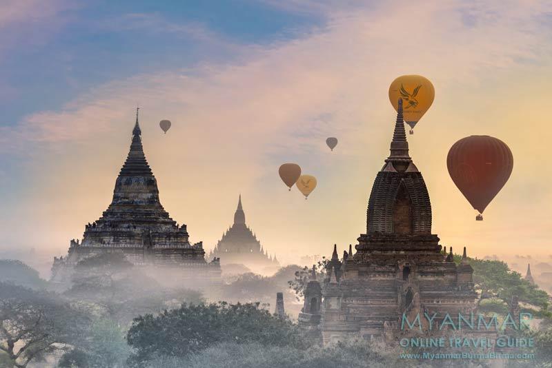 Myanmar Reisetipps | Bagan | Ballons über der Tempelebene
