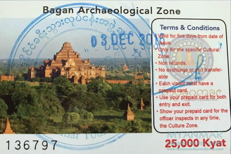 Myanmar Reisetipps | Bagan | Eintrittsticket