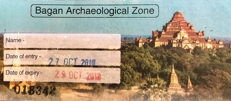 Myanmar Reisetipps | Bagan | Ticket für die Archaeological Zone (25.000 Kyat)